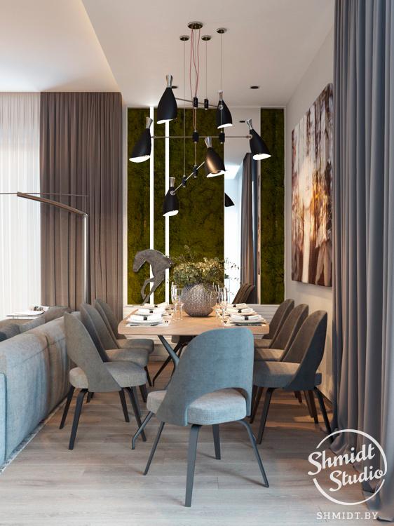 Modern Open Plan Dining Room with Stunning Lighting Designs in Minsk 1