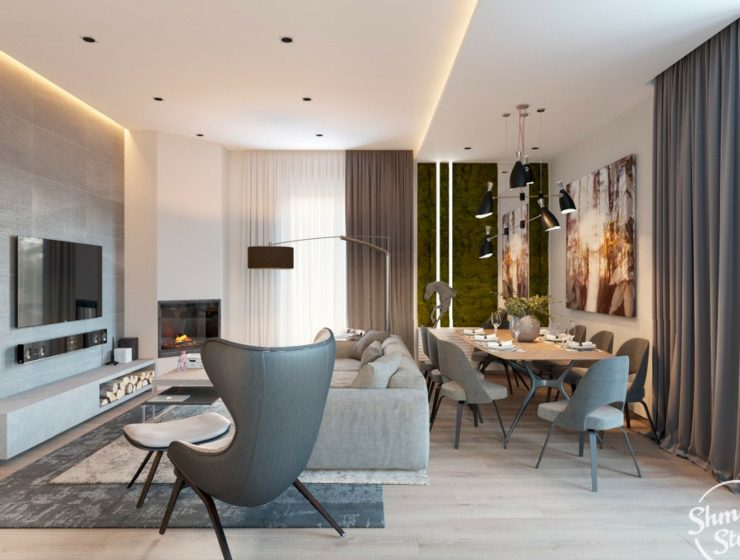 Modern Open Plan Dining Room with Stunning Lighting Designs in Minsk feat