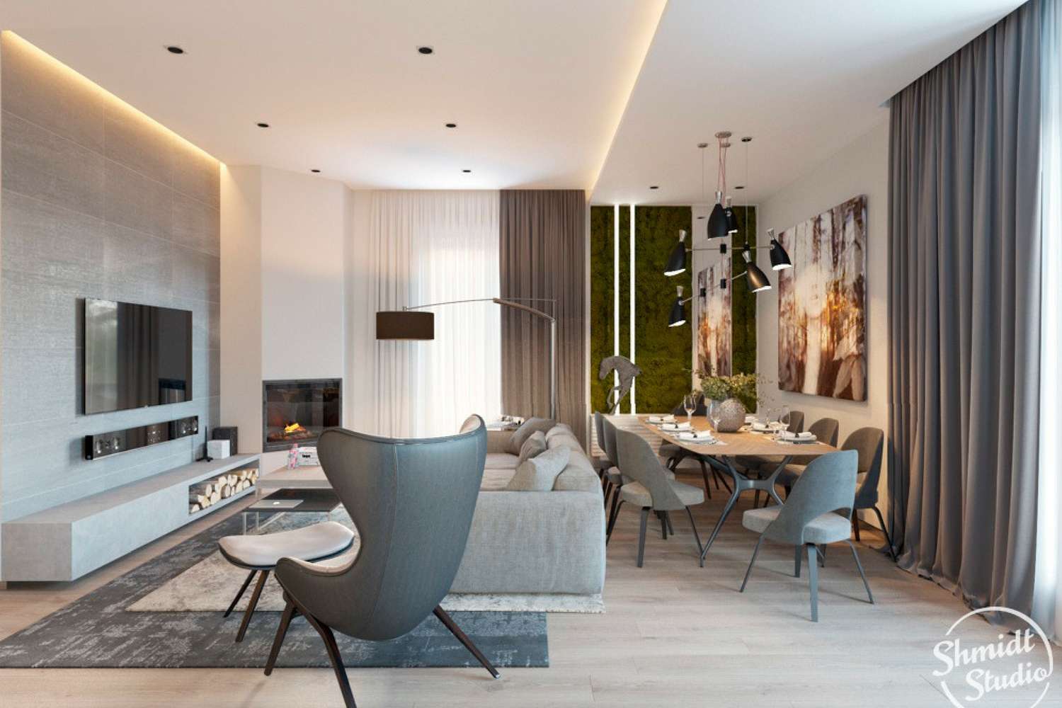 Modern Open Plan Dining Room with Stunning Lighting Designs ...