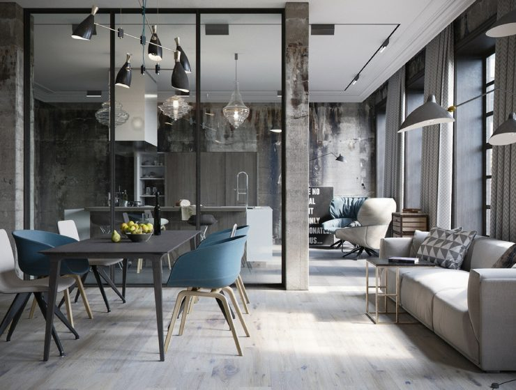Dining Room Chandelier Brightens Up Industrial Loft FEAT
