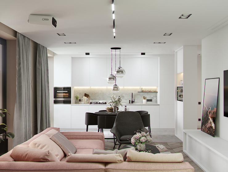 Pastel Dining Room Shines with Industrial Lamps & Rose Quartz Decor FEAT