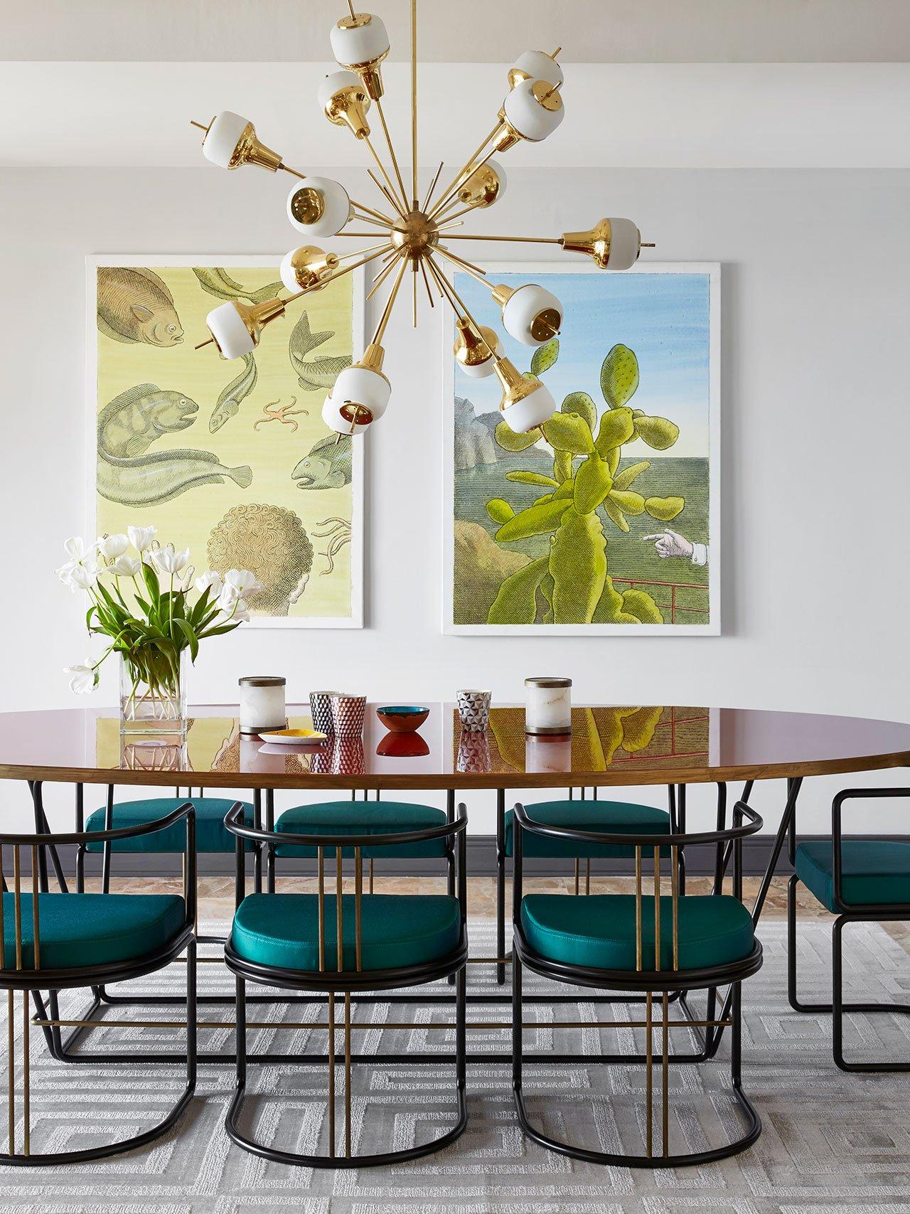 Sputnik Chandelier Lights Up Mid Century Dining Room in Monaco