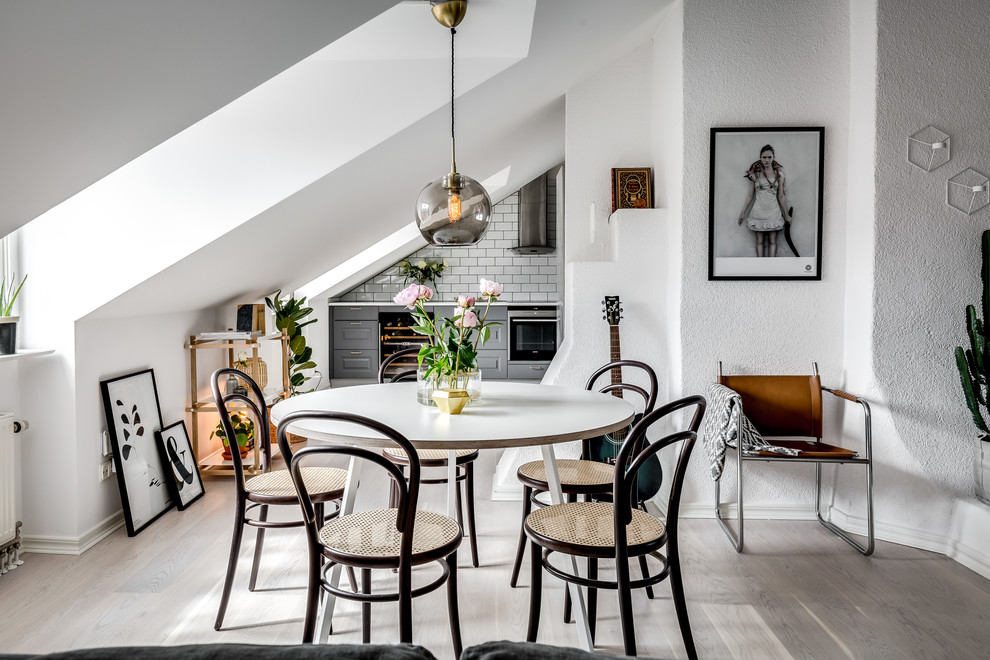 And Our Pinterest Followers Agree With Us The Dining Room Chandelier Mixed Artwork Provide Pops Of Color To This Scandinavian Decor