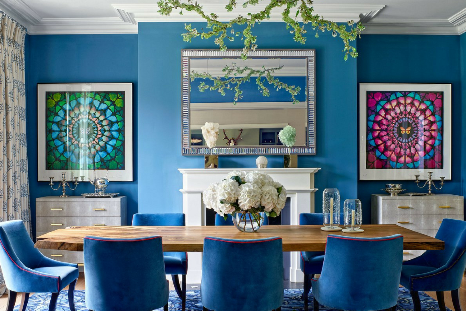 What S Hot On Pinterest Keep Calm With These Blue Dining Rooms Room Lighting
