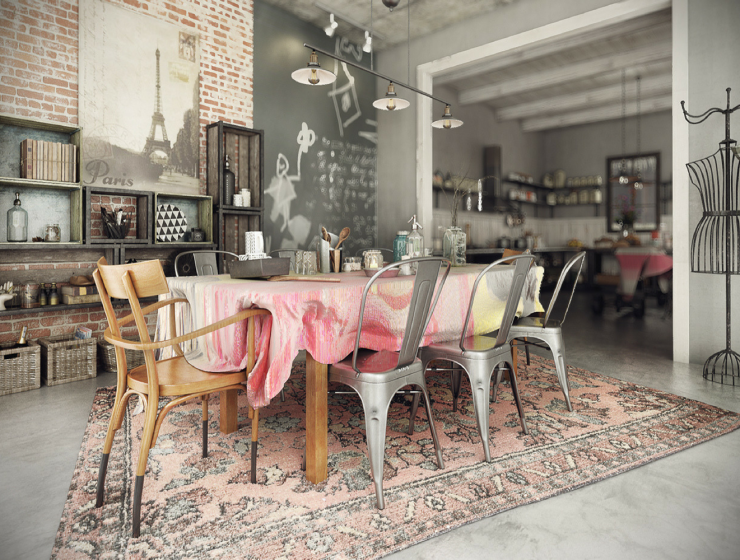Industrial Dining Room with a Contemporary Twist on a Rustic Design FEAT