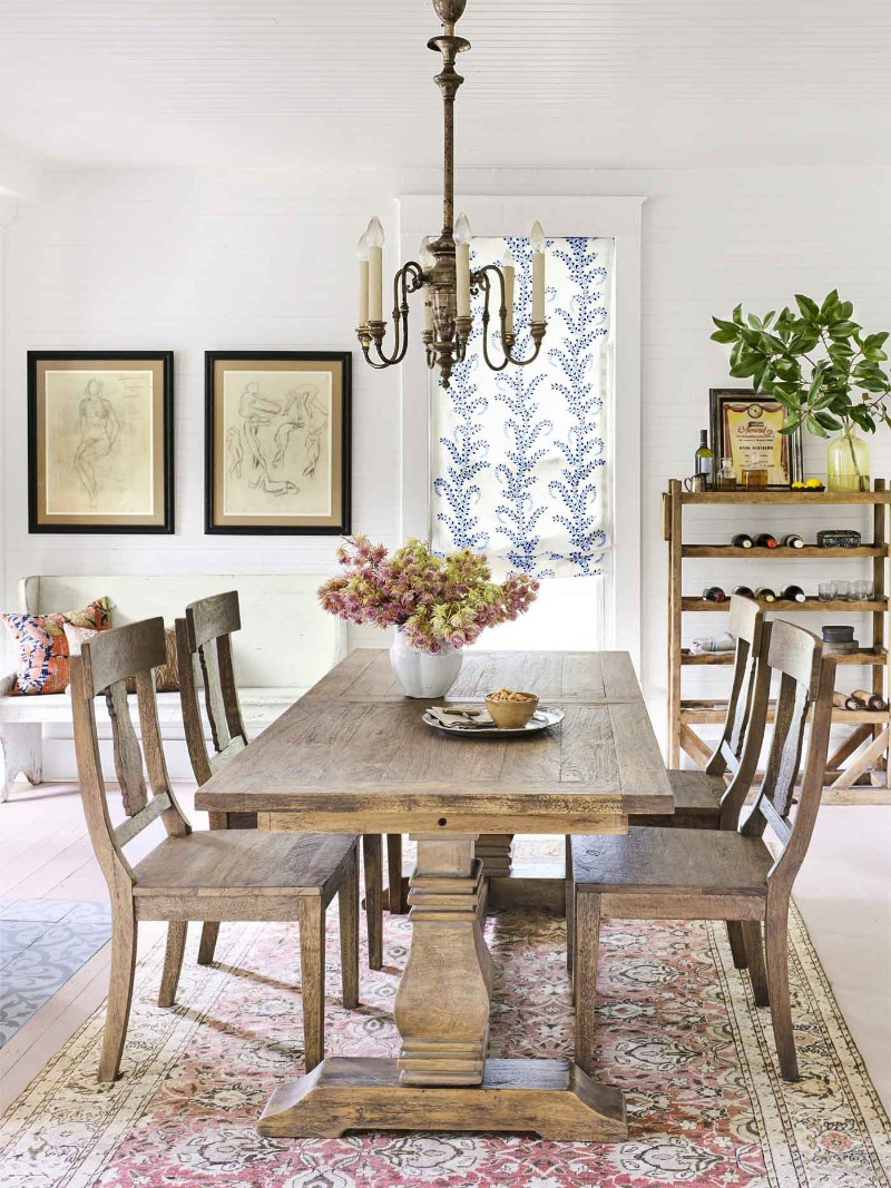 Thanks To A Large Rustic Dining Table And Chairs That Will Easily Seat Family Of Four As Well Visiting Loved Ones The Vintage Chandelier
