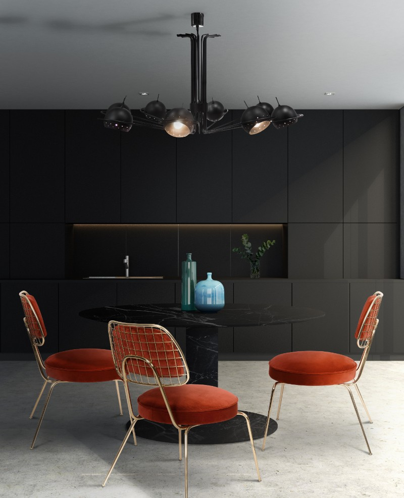 Going Full Black W This Dining Room Design Lamps Dining Room Lighting