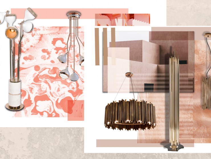 Coral Moodboards Side By Side With Lighting Design
