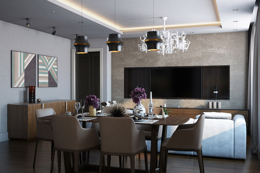 Gostinaya studio Shows 5 Lighting Ideas For A contemporary dining room!