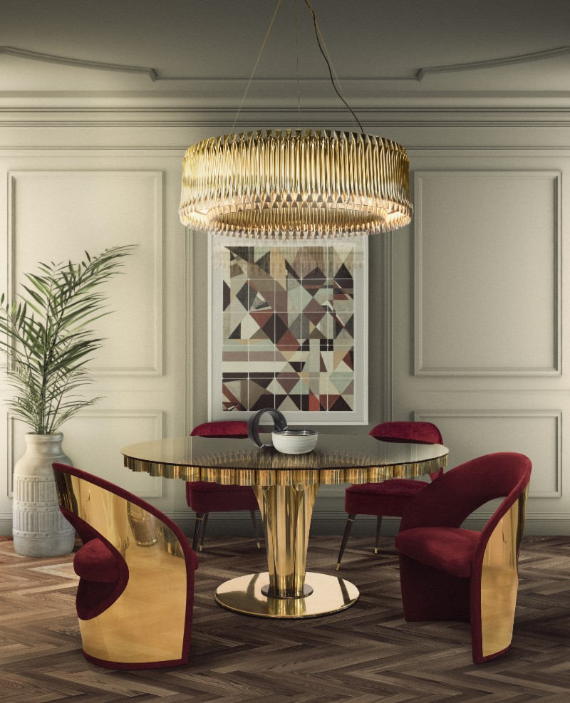 Golden Lighting Pieces Are The Secret To Create A Perfect Dining Room
